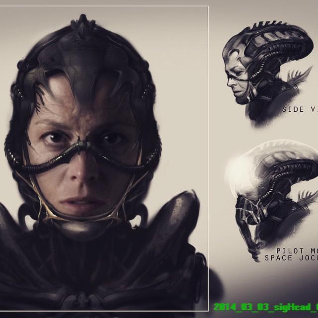 Sigourney Weaver fusionada con un alien segun los diseños de Blomkamp