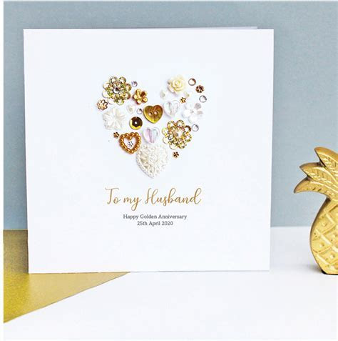 Personalised Golden Wedding Anniversary Card   Sweet Dimple