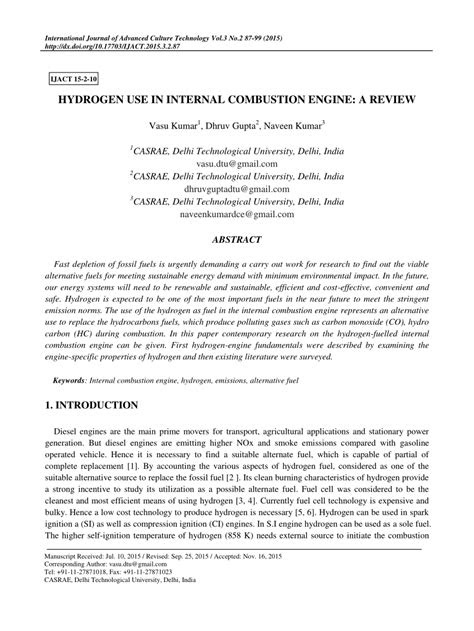 (PDF) Hydrogen use in internal combustion engine