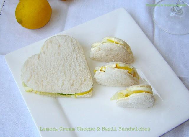 Lemon, Cream Cheese & Basil Sandwiches