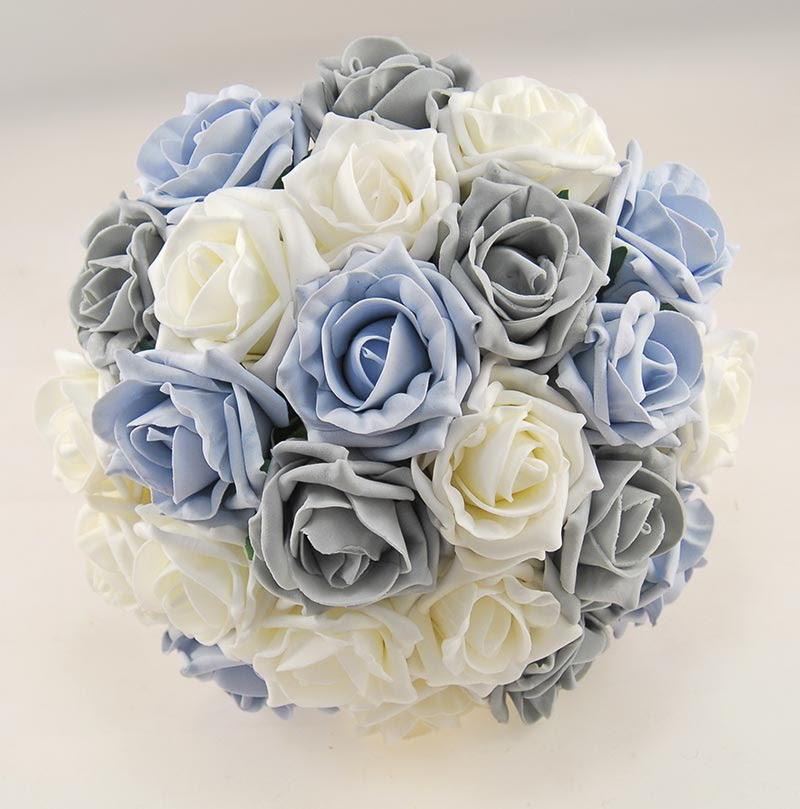 Dark Grey Blue Ivory Foam Rose Handle Name Charm Wedding Vanessa