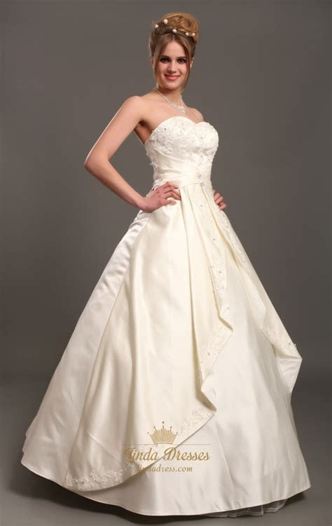 Ivory Strapless A Line Satin Wedding Dresses With Beaded