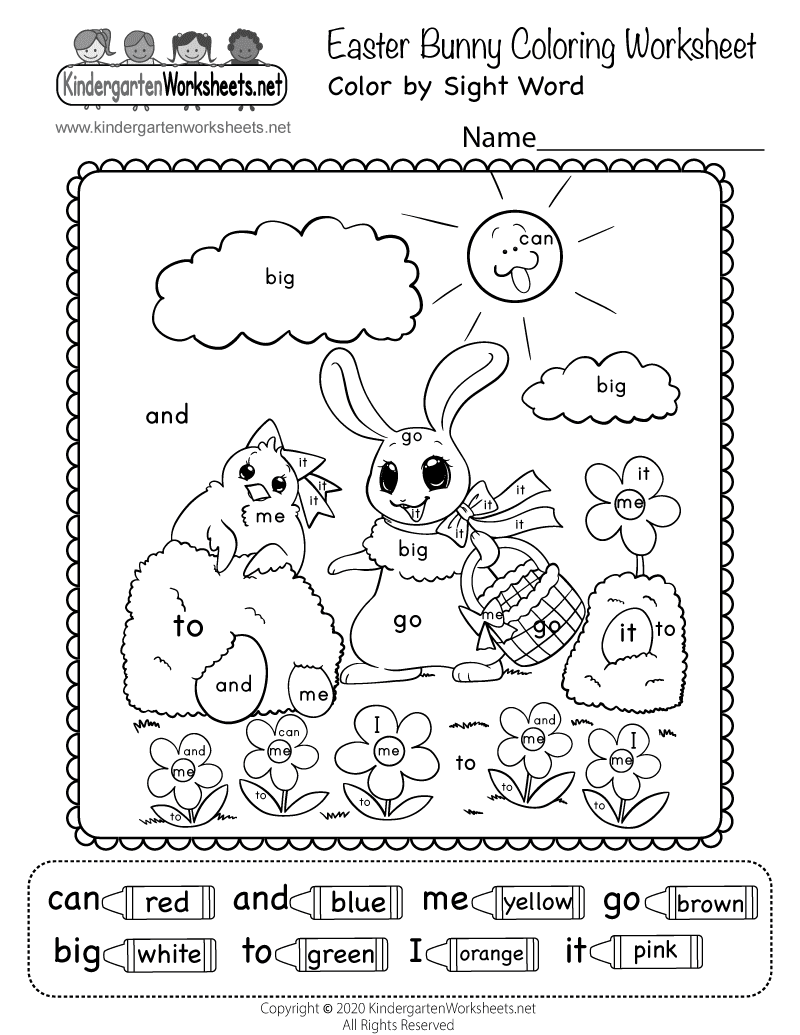 Free Printable Easter Bunny Coloring Worksheet for ...