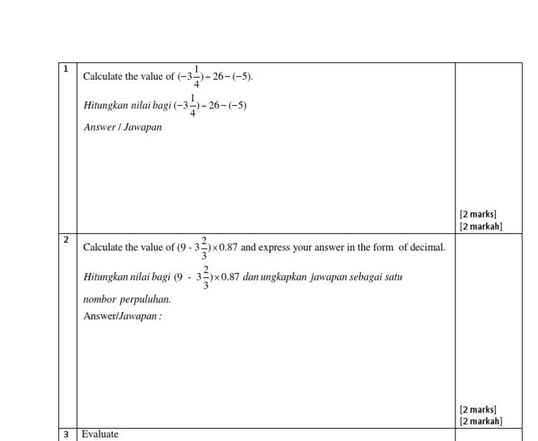 Soalan Matematik Tingkatan 5 - Soalan dan Jawapan