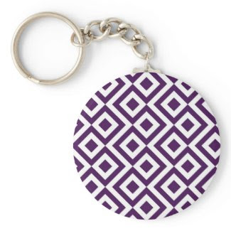 Purple and White Meander Key Chain