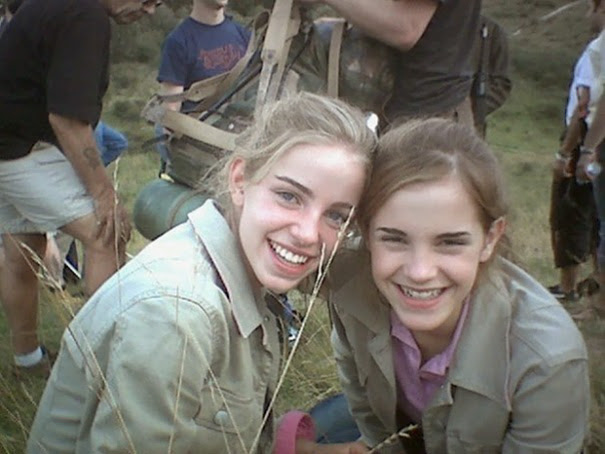 Emma Watson With Her Stunt Double On The Set Of Harry Potter