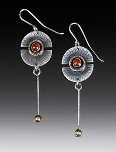 Handcrafted long drop sterling, brass and carnelian earrings