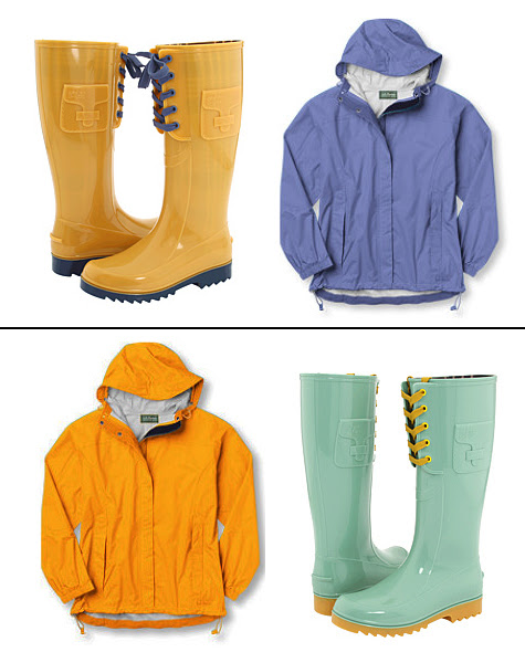 See by Chloe rainboots and L.L. Bean trail model rain jacket