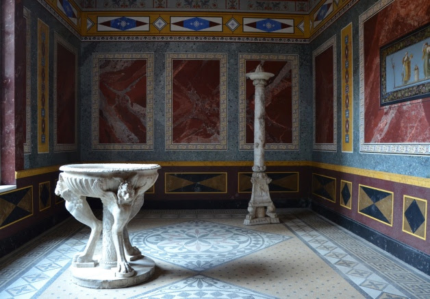 Summer triclinium with wall painting, Pompeiianum, Aschaffenburg, Germany © Carole Raddato