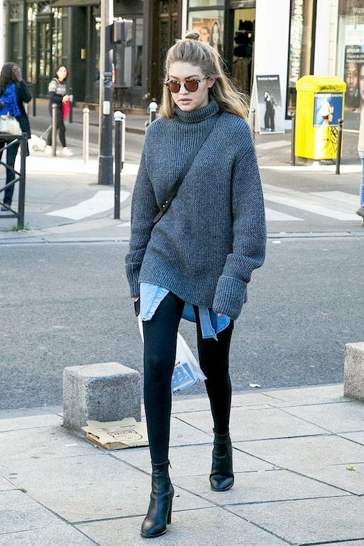 Le Fashion Blog Model Off Duty Style Winter Layers Gigi Hadid Oversized Ribbed Turtleneck Sweater Chambray Shirt Black Leggings Leather Ankle Boots Via Popsugar