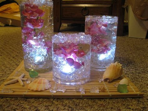 Bamboo placemats, waterproof LED lights, silk flowers, gel