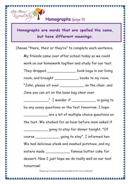 Grade 3 Grammar Topic 26 There Their They Re Worksheets Lets