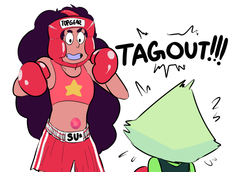 I can imagine Garnet saving Peridot from out of the ring in a fan man suit