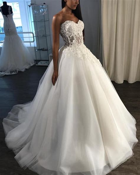 See Through Corset Wedding Dress Tulle Appliques Ball Gown