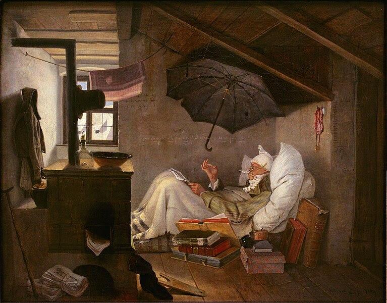 Fitxer:Carl Spitzweg - Der arme Poet (Neue Pinakothek).jpg