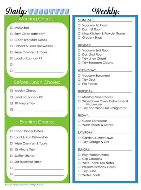 1000+ ideas about Weekly Chore List on Pinterest   Daily chore ...