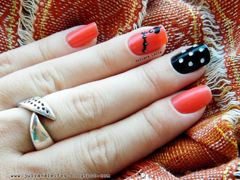 juliana leite unhas decoradas nail art pingente preta pedras 002
