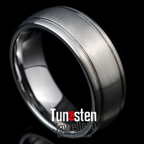 Tungsten wedding ring 8mm Brushed with Polished Grooves
