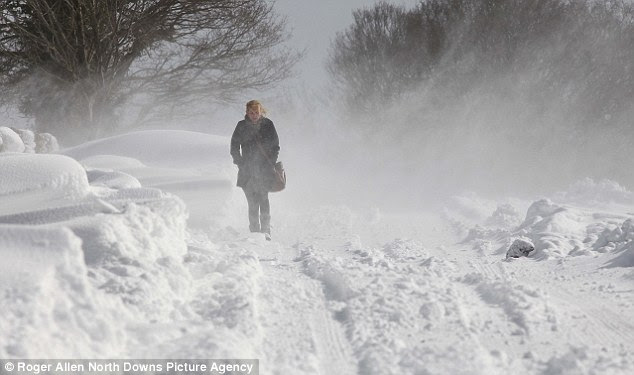 Image result for photo woman in snowstorm
