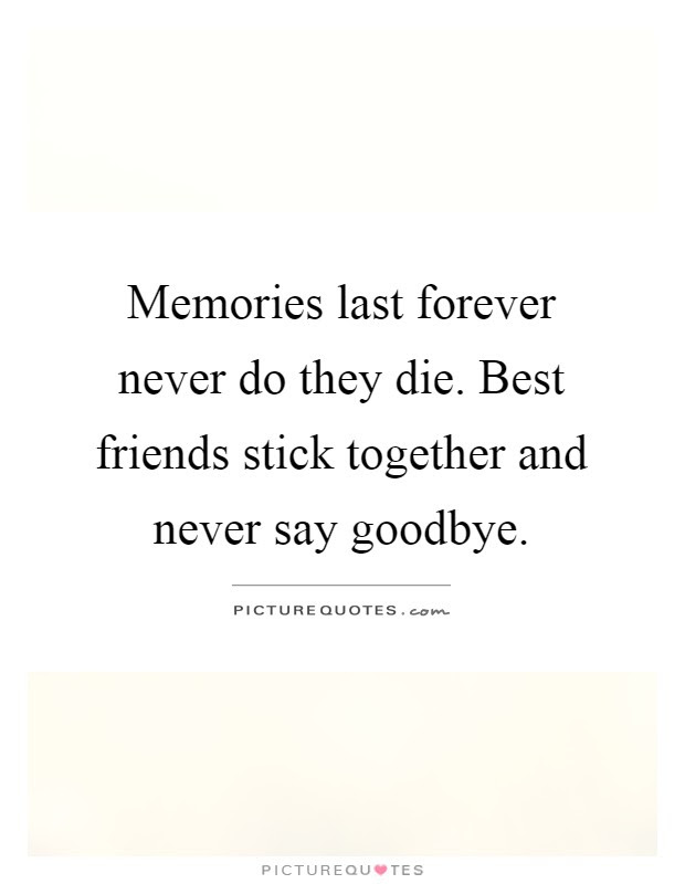 Memories Last Forever Never Do They Die Best Friends Stick