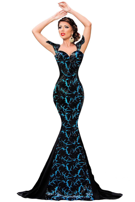 Black Sequin Embellishment Elegant Mermaid Evening Gown LC60844 2