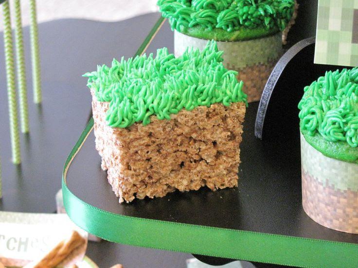 Minecraft Birthday Party Rice Krispie dirt blocks