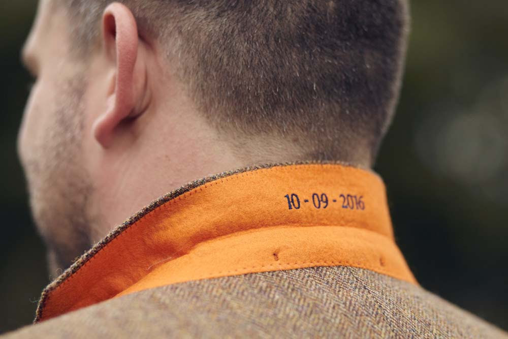 Groom's hidden secret date printed inside tweed wedding suit collar - www.helloromance.co.uk