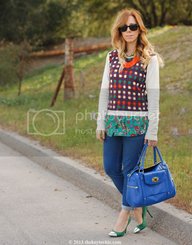 Duro Olowu for JCPenney paisley stripe blouse and plaid sweater, Mossimo Viveca cap toe pumps, Merona turnlock satchel, Los Angeles fashion blog