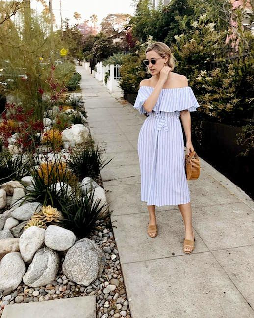 Le Fashion Blog 2 Summer Looks Striped Off The Shoulder Dress Neutral Sandals Via @haleboyd