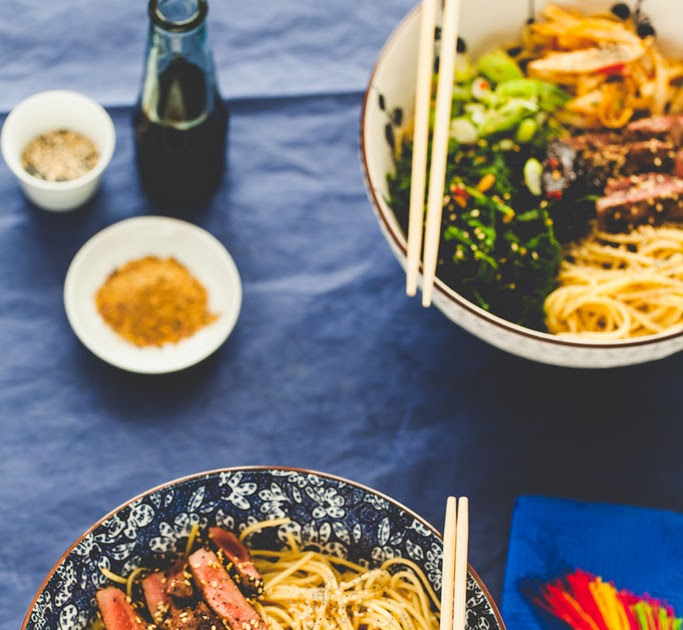 Ramen Bowl with Sesame Poppy Seed Venison and Ginger Chili Kale and Swede