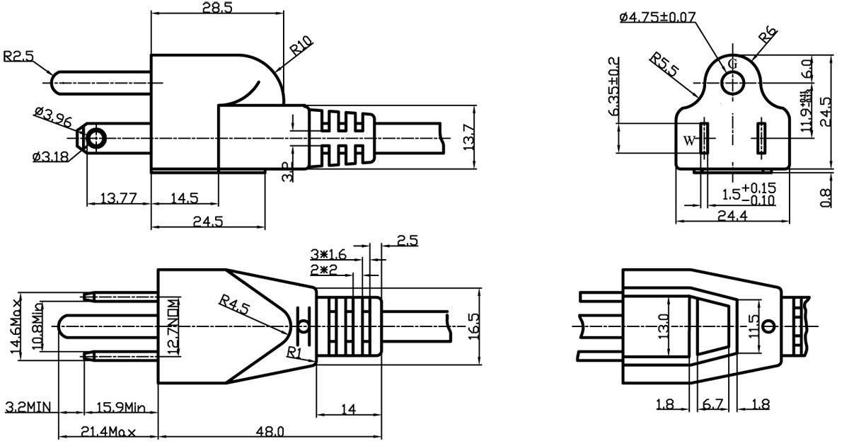 15a 125v Nema5 15 Straight Plug Power Cord