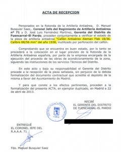 Acta de recepción de las obras publicado por Defensa