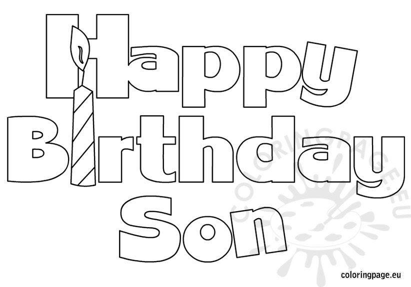 Happy Birthday Son coloring - Coloring Page