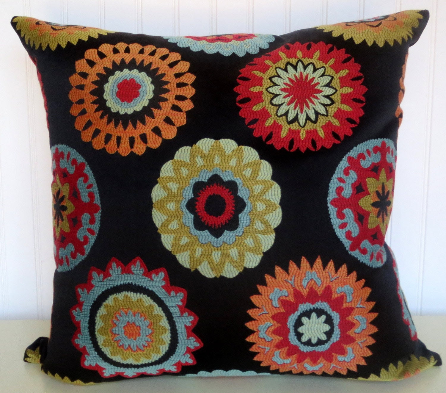 Transitional Woven Decorative Pillow Cover 20 x 20 Throw Pillow--Red, Green, Yellow, Blue, Orange, Black