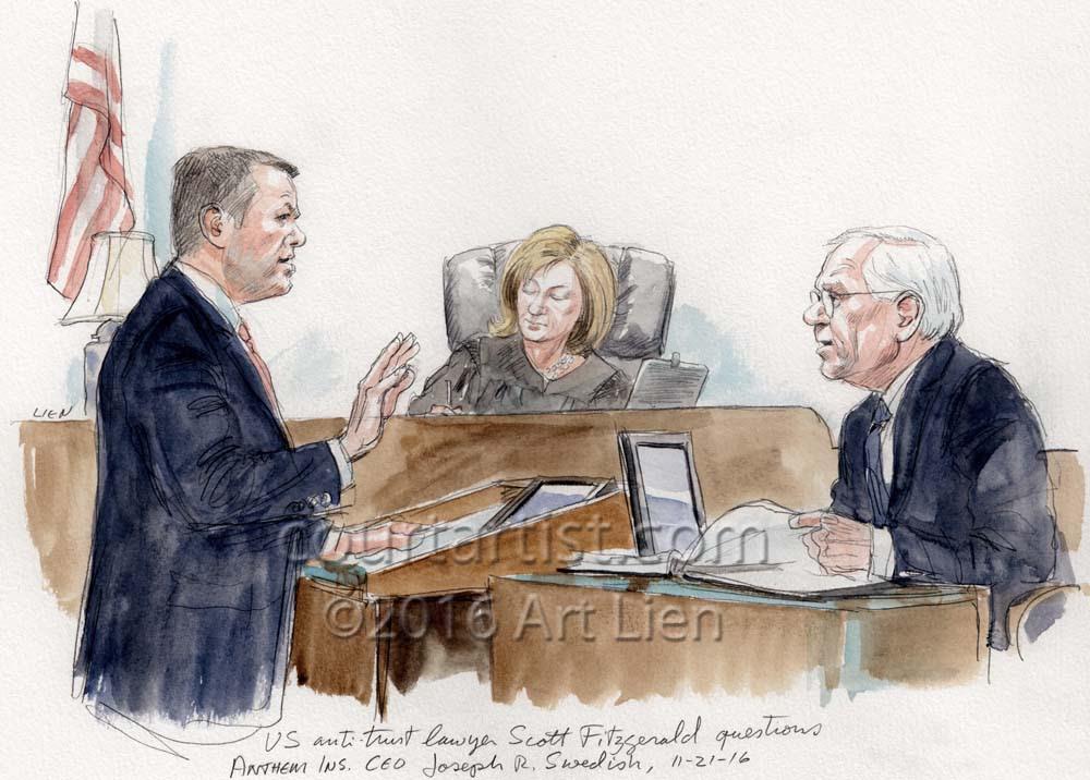 An Antitrust Trial - Art Lien, Courtartist