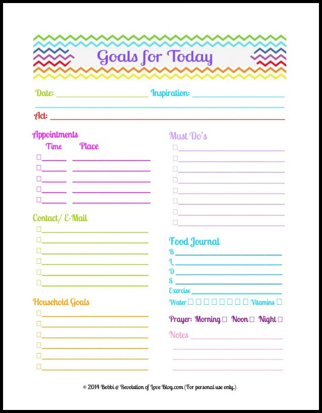Pinterest Party & Link-up (vol. 28): Daily Planner Goal Sheet ...