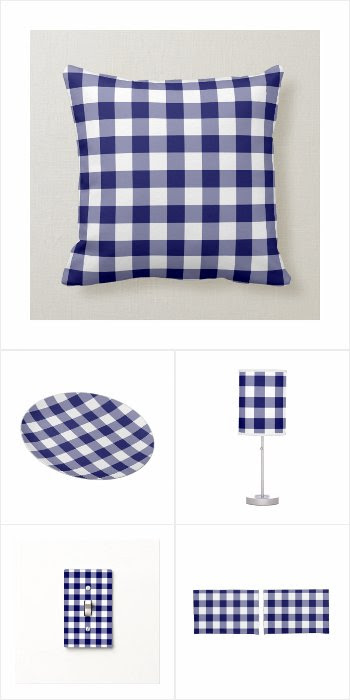 Classic Navy and White Gingham Pattern Home Decor