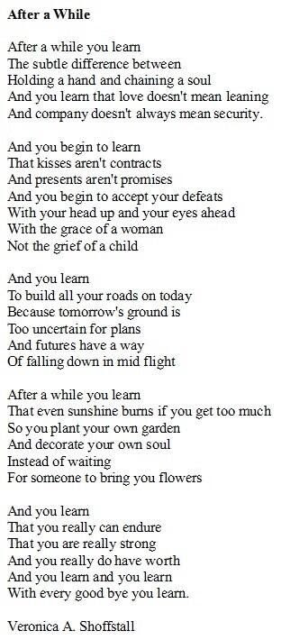 Poem- After A While