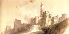 Lámina de la Torre de David en la ciudadela de Jerusalén (ISRAEL)