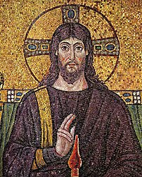 A 6th century mosaic of :en:Jesus at Church San Apollinare Nuovo in :en:Ravenna, :en:Italy. (Originally taken from here.