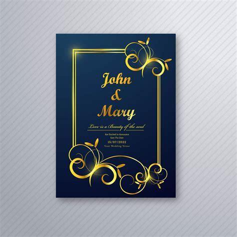 Luxury wedding card flyer template design vector