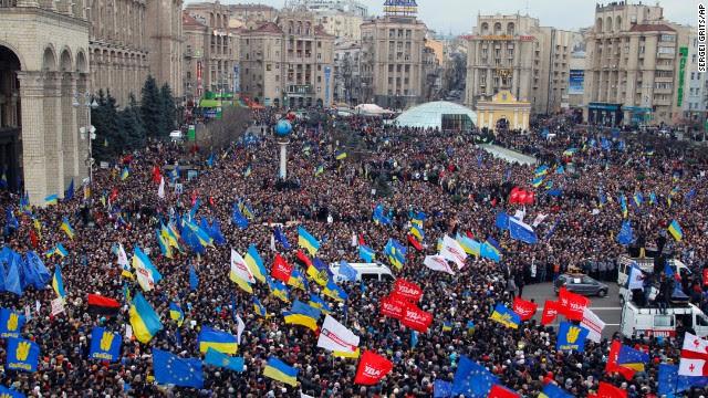 Demonstrators gather in downtown Kiev on December 1.