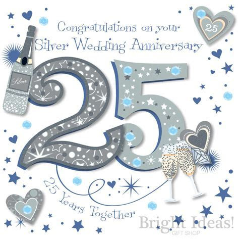 25th Silver Wedding Anniversary Card by Ling Design