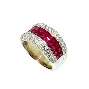 Wide Band Ruby Gemstone & Diamond Wedding Band/Engagement