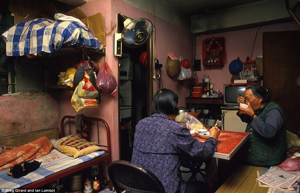 Law Yu Yi, aged 90, lived in a small and humid third-floor flat with her son's 68-year-old wife off Lung Chun First Alley. The arrangement is typical of traditional Chinese values in which the daughter-in-law looks after her inlaws