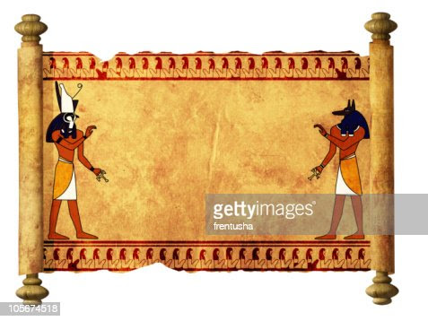 Blank Ancient Egyptian Scroll With Anubis And Horis Stock Photo ...
