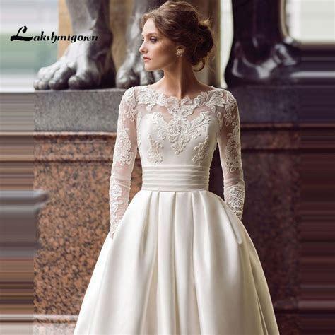 Modest Long Sleeve Wedding Dresses Turkey Scoop Satin
