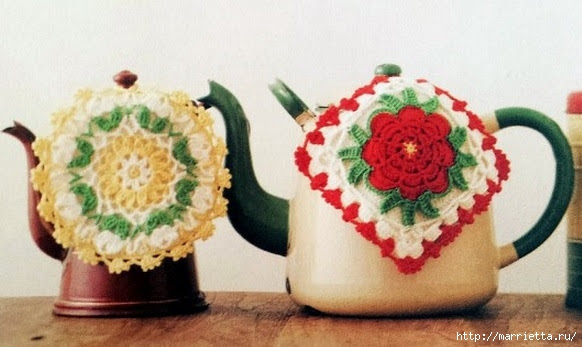 Crochet.  Tack with volume rose (16) (582x347, 129Kb)