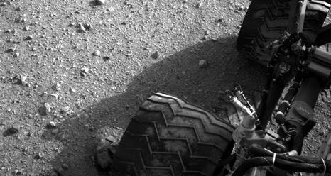 Martian soil on Curiosity's wheels
