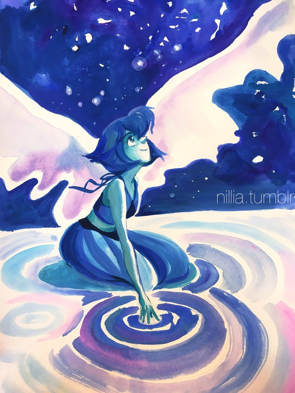 Oh and here's that Lapis watercolor/gouache painting I sold at Otakon.